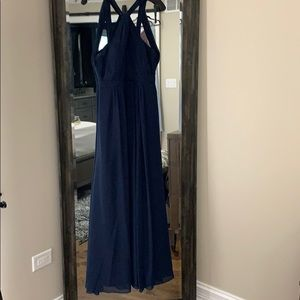 Twisted Halter Evening Dress in Navy